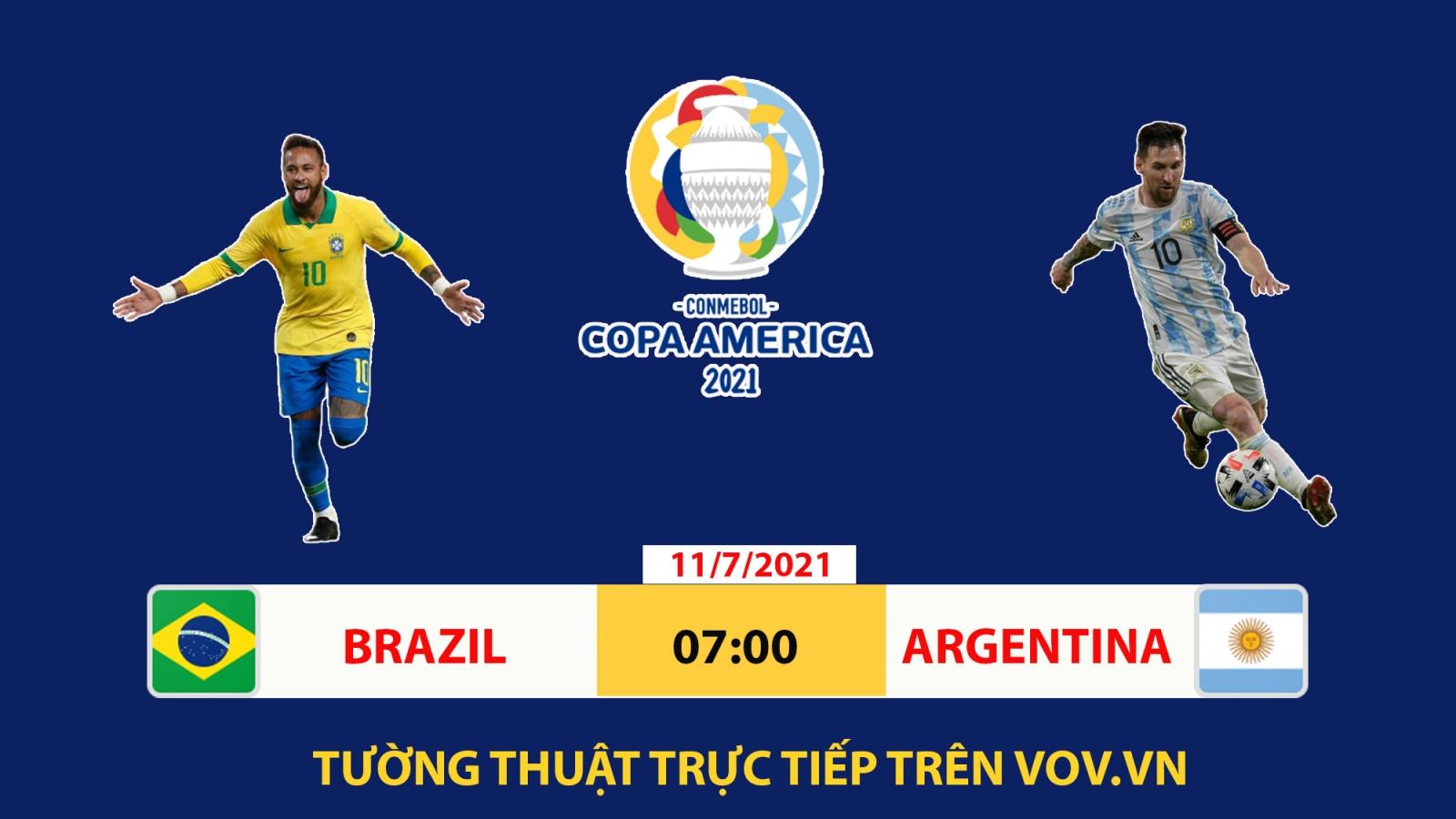 Lịch thi đấu chung kết Copa America 2021: Brazil quyết đấu Argentina