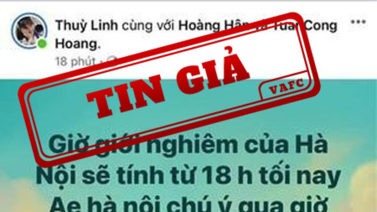 Thông tin giới nghiêm thành phố Hà Nội là tin giả