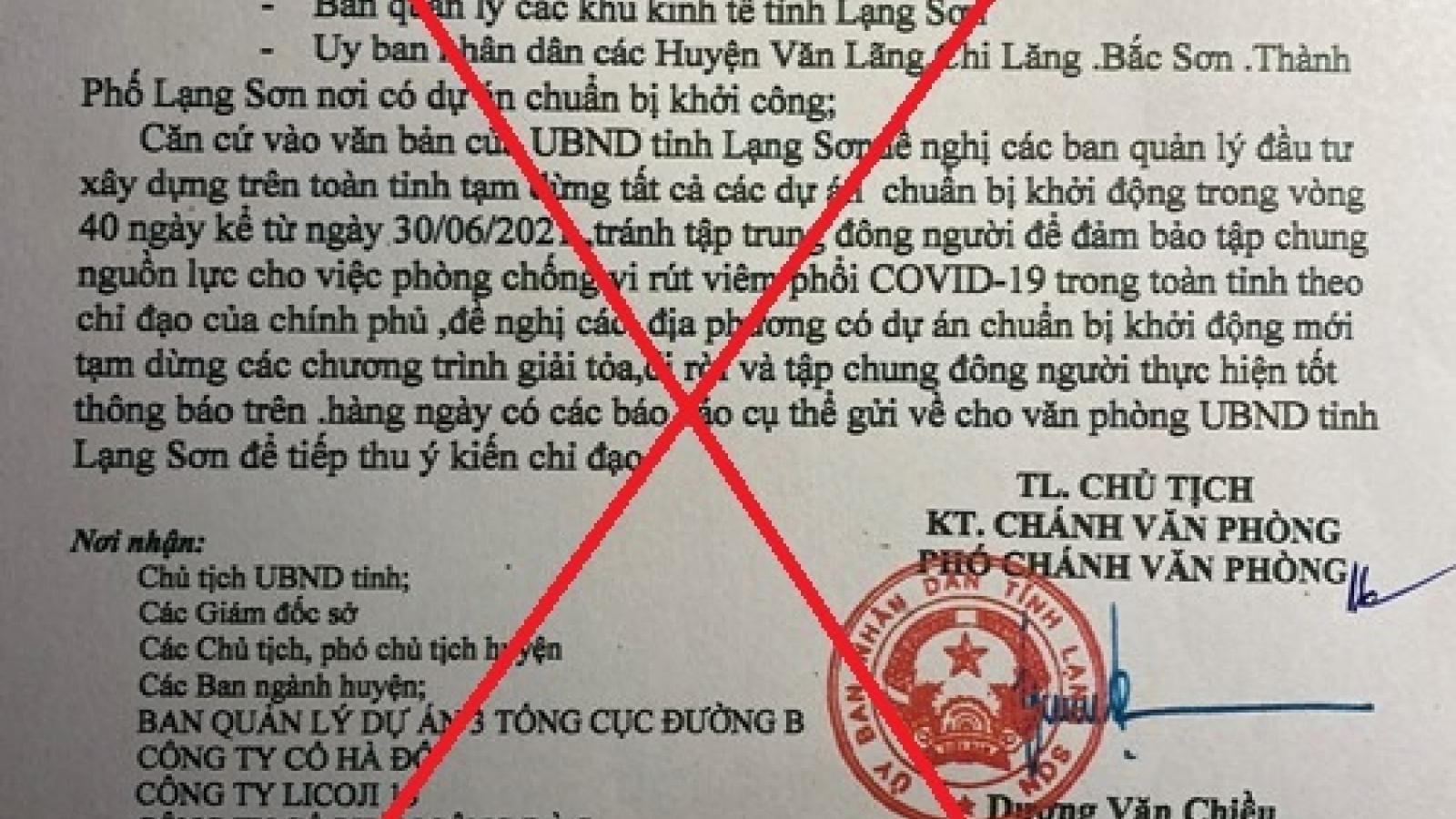 Xuất hiện văn bản giả mạo chỉ đạo của UBND tỉnh Lạng Sơn