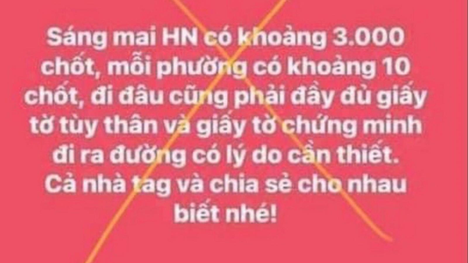 """Tung tin thất thiệt """"Hà Nội có khoảng 3.000 chốt"""", một cá nhân bị phạt 12,5 triệu đồng"""