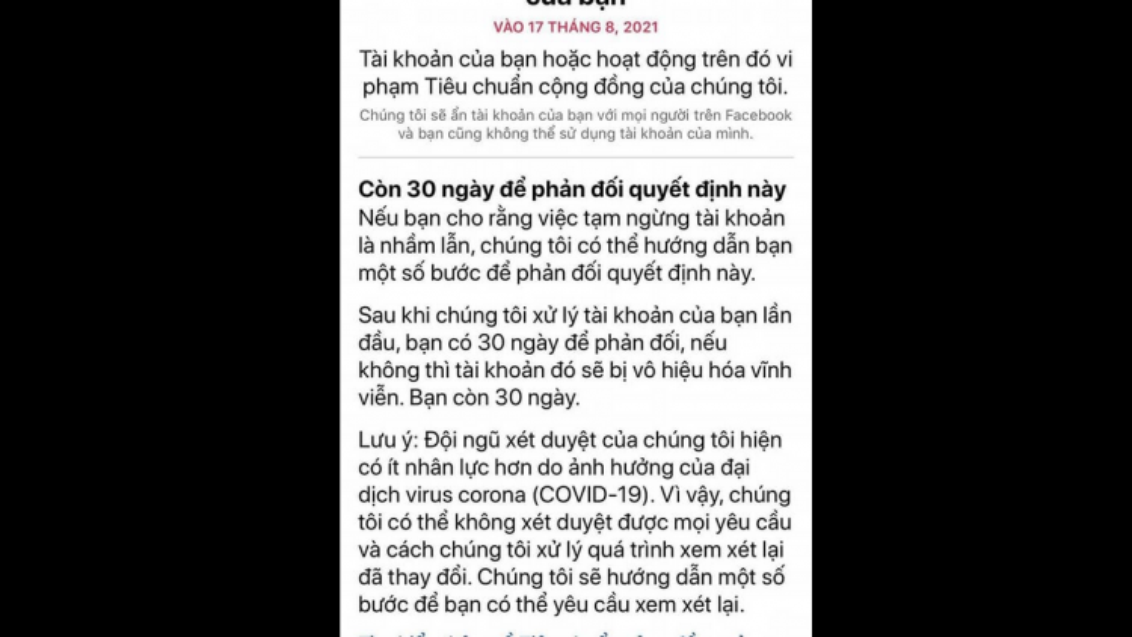 Hàng loạt tài khoản Facebook tại Việt Nam bị khóa sau một đêm