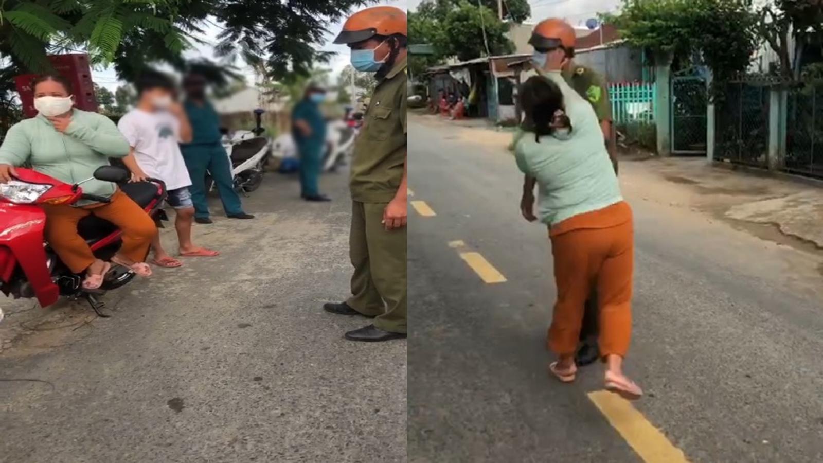 Chồng vi phạm Chỉ thị 16, vợ chửi bới và đánh công an