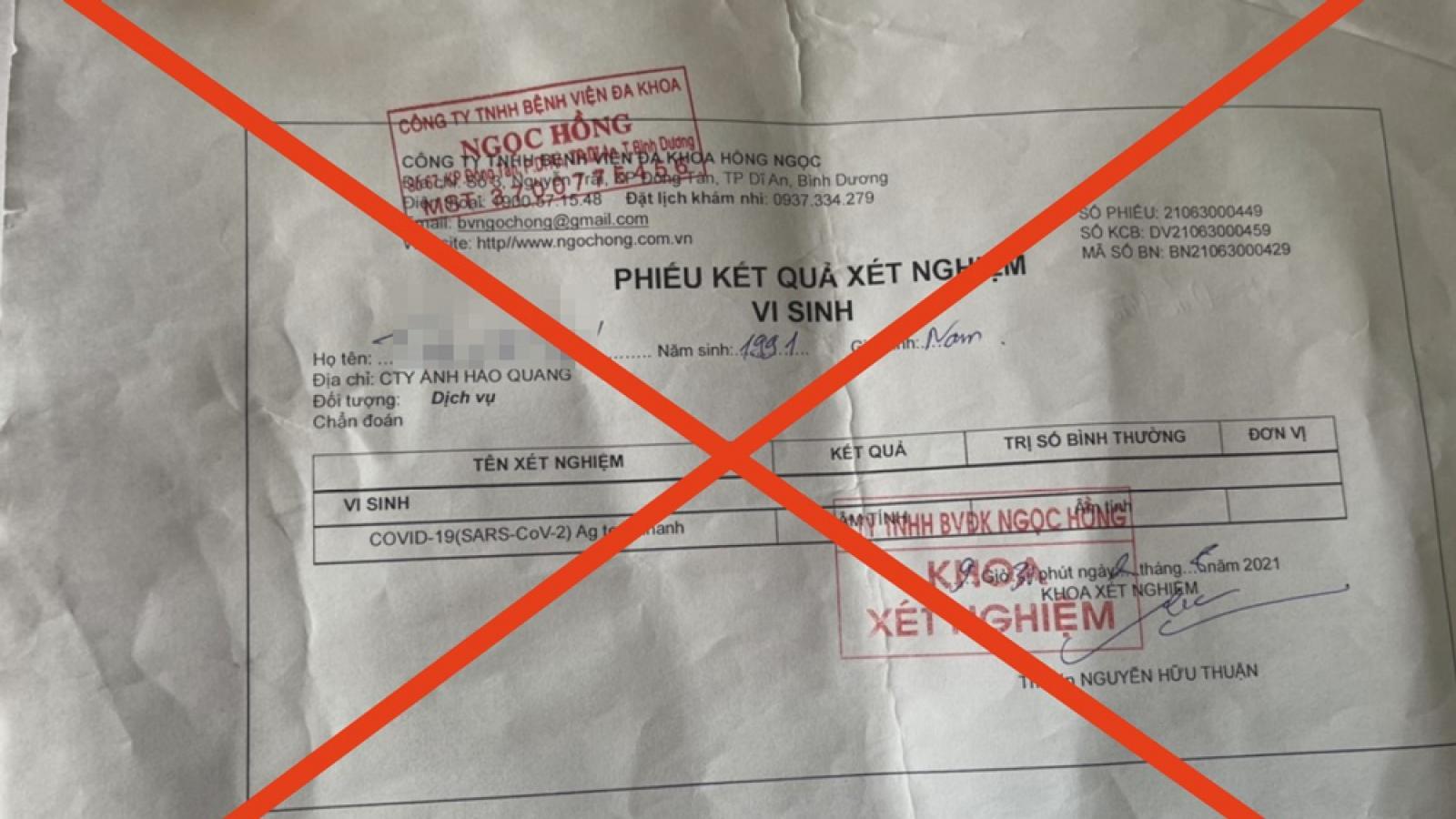 """Công an Bình Dương bắt giữ 3 đối tượng làm giả giấy test COVID-19 để """"thông chốt"""""""