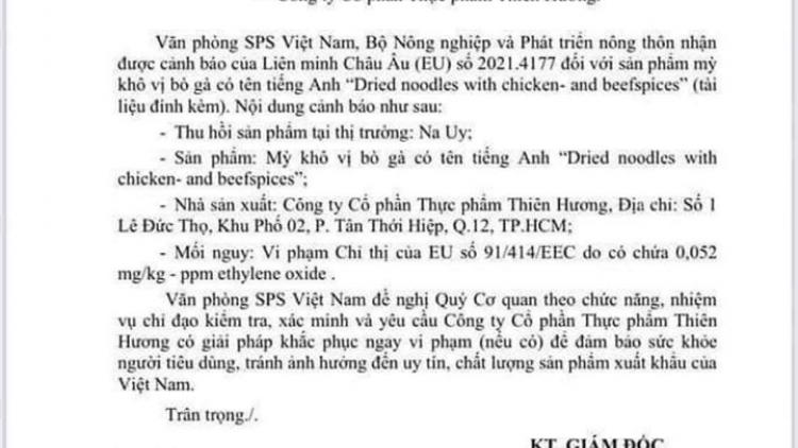 EU lại cảnh báo mì khô vị bò gà Thiên Hương có chất cấm