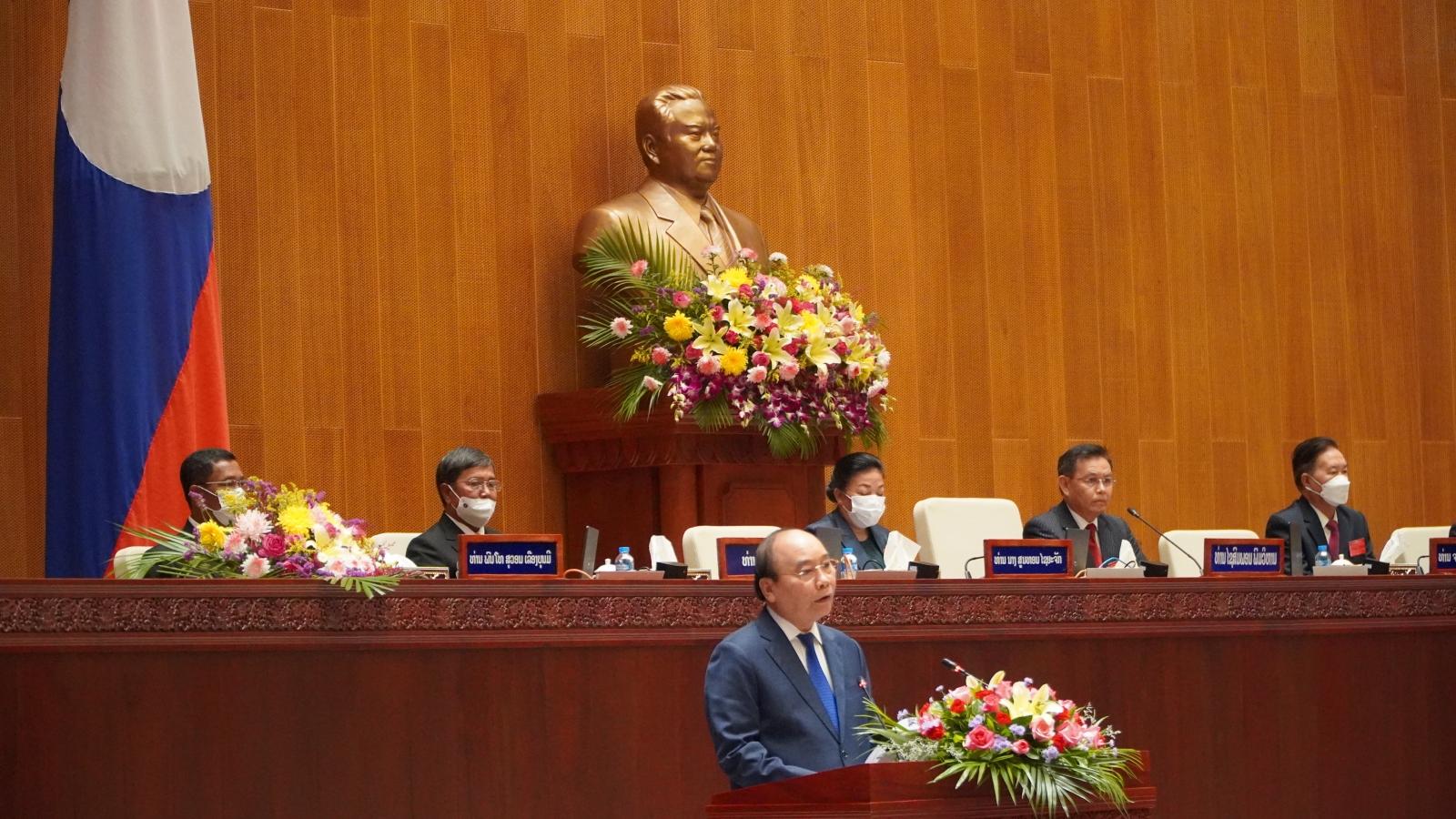 Chủ tịch nước Nguyễn Xuân Phúc phát biểu tại Quốc hội Lào