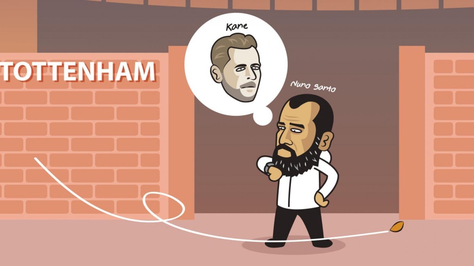 Biếm hoạ 24h: Tottenham chờ mãi chẳng thấy Harry Kane đâu