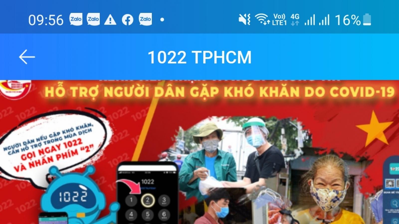 Người dân TP.HCM gặp khó khăn có thể liên hệ Tổng đài 1022 trên Zalo