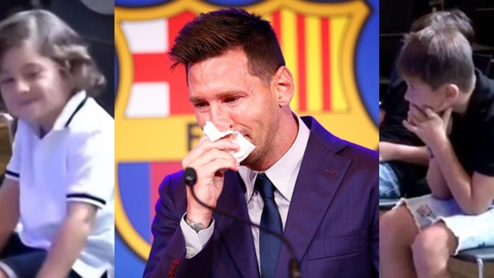 Biểu cảm trái ngược của các con Messi khi bố bật khóc