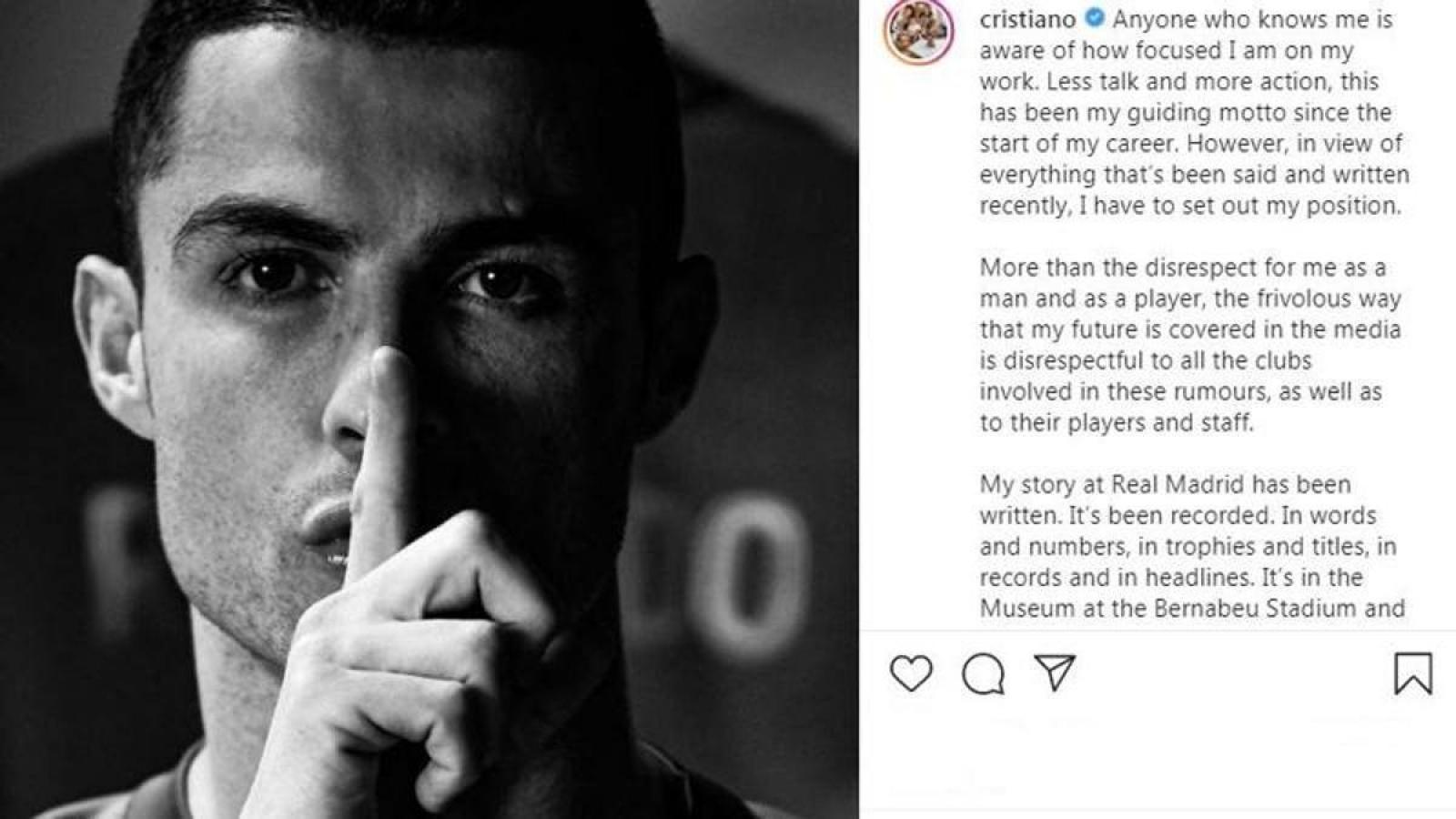 """""""Dính"""" tin đồn trở lại Real Madrid, Ronaldo đáp trả đanh thép"""