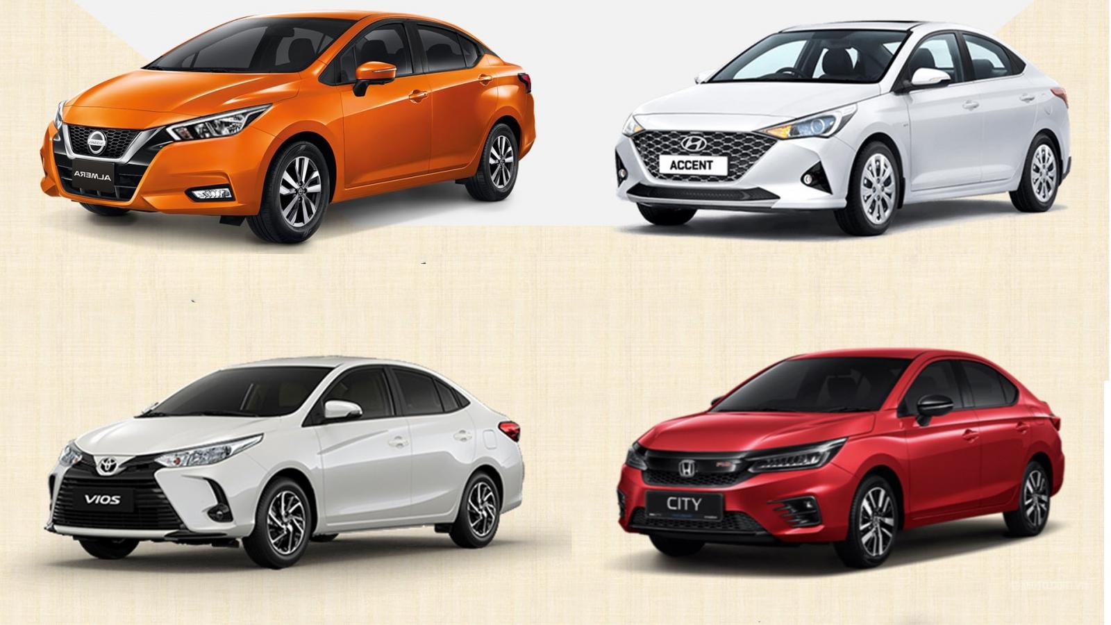 So sánh Nissan Almera với Hyundai Accent, Honda City và Toyota Vios