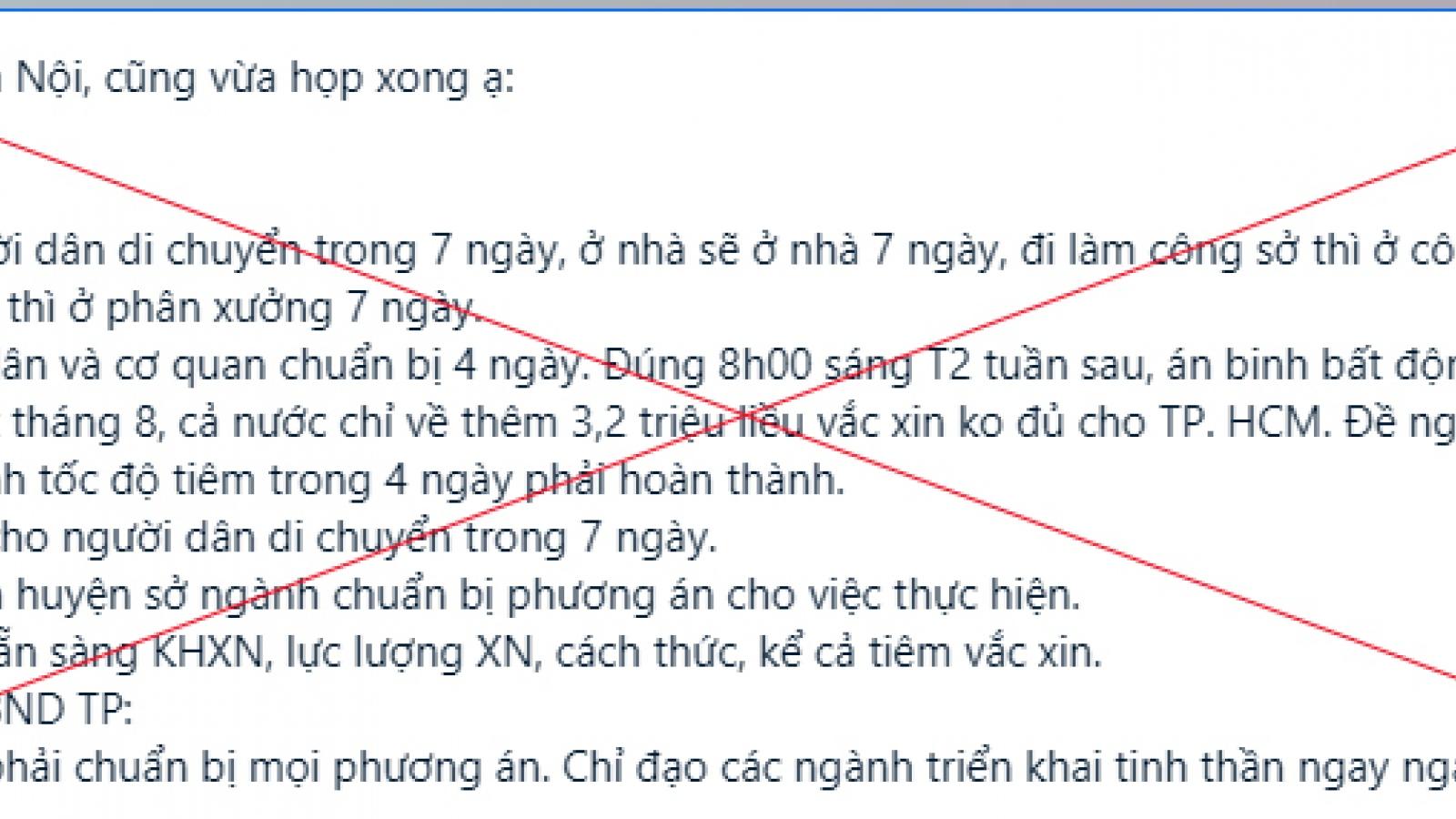 Thông tin Hà Nội cấm người dân ra đường trong 7 ngày là tin giả