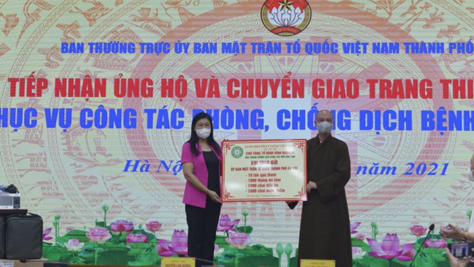 MTTQ thành phố Hà Nội tiếp nhận và chuyển giao trang thiết bị phòng, chống dịch