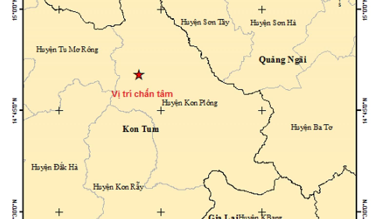 Thêm 1 trận động đất tại huyện Kon Plông, tỉnh Kon Tum