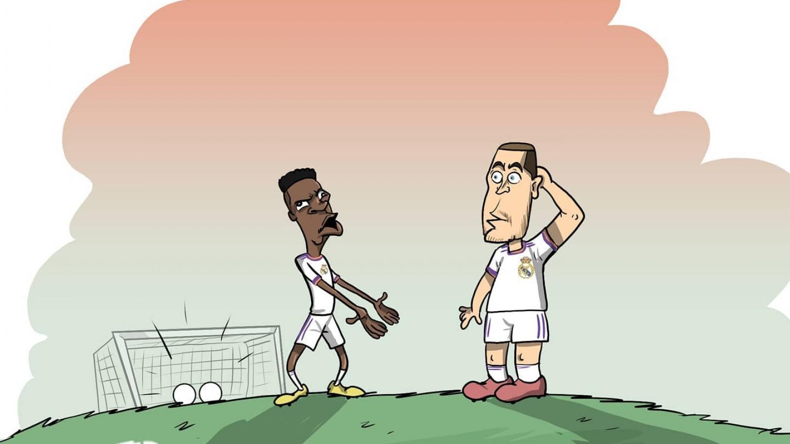 Biếm họa 24h:Vinicius dạy Hazard cách ghi bàn