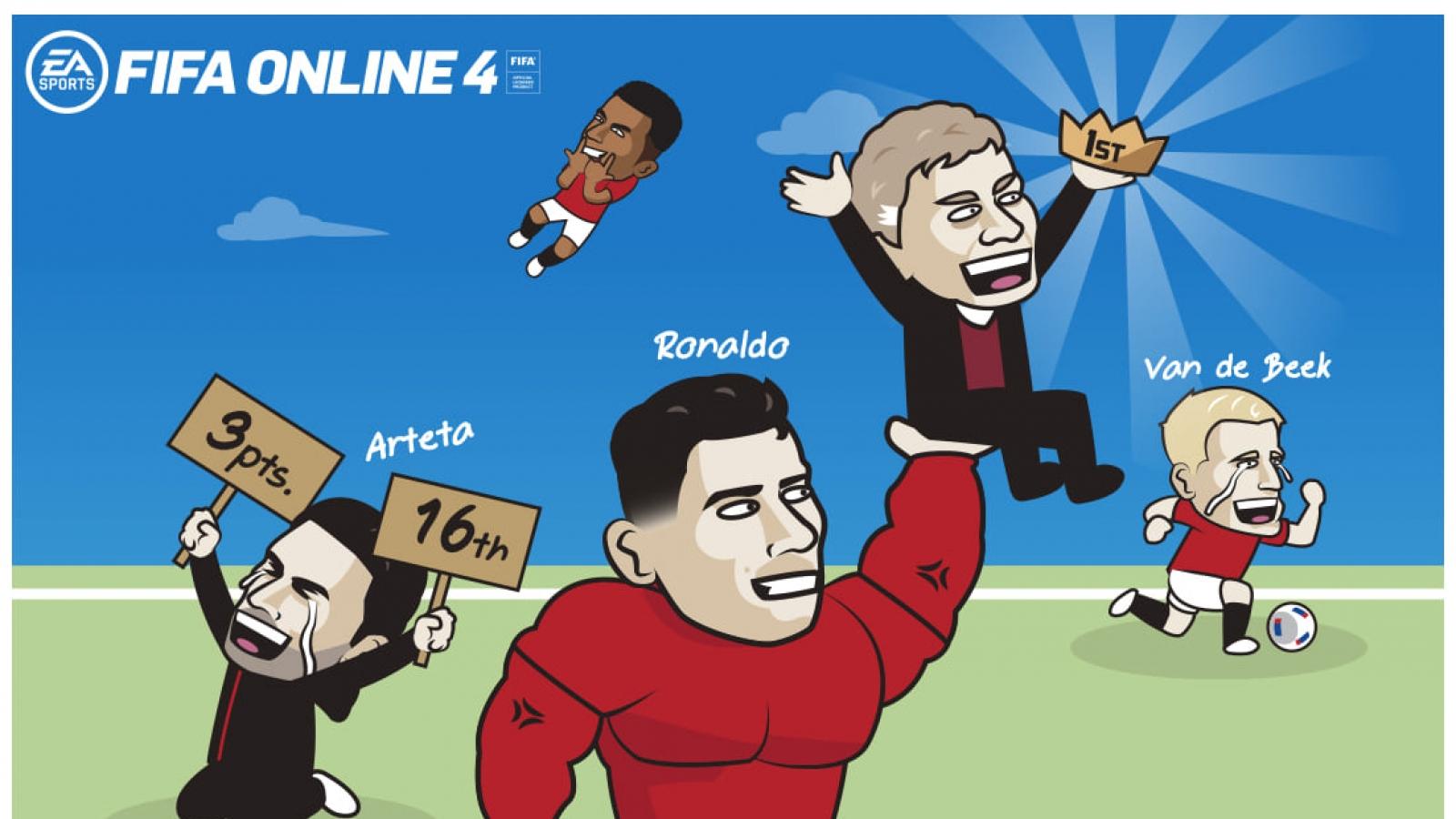 """Biếm họa 24h: Ronaldo nhấc Solskjaer lên ngôi đầu, """"Lão bà"""" đi tìm CR7"""