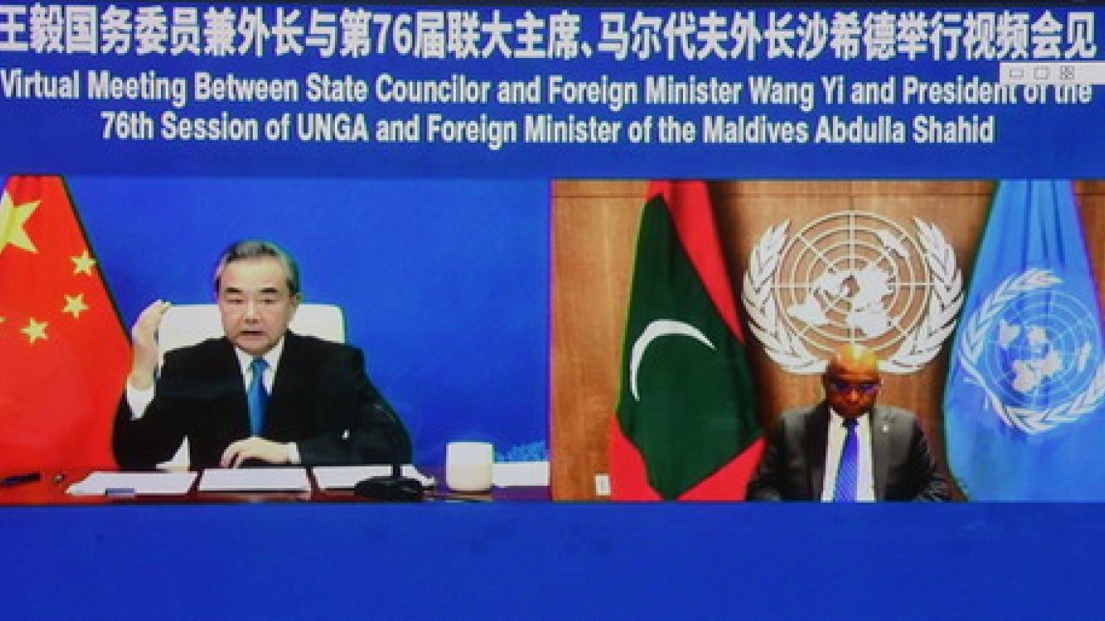 Bộ trưởng Ngoại giao Vương Nghị hội kiếnvới Chủ tịch Đại hội đồng LHQ Abdulla Shahid