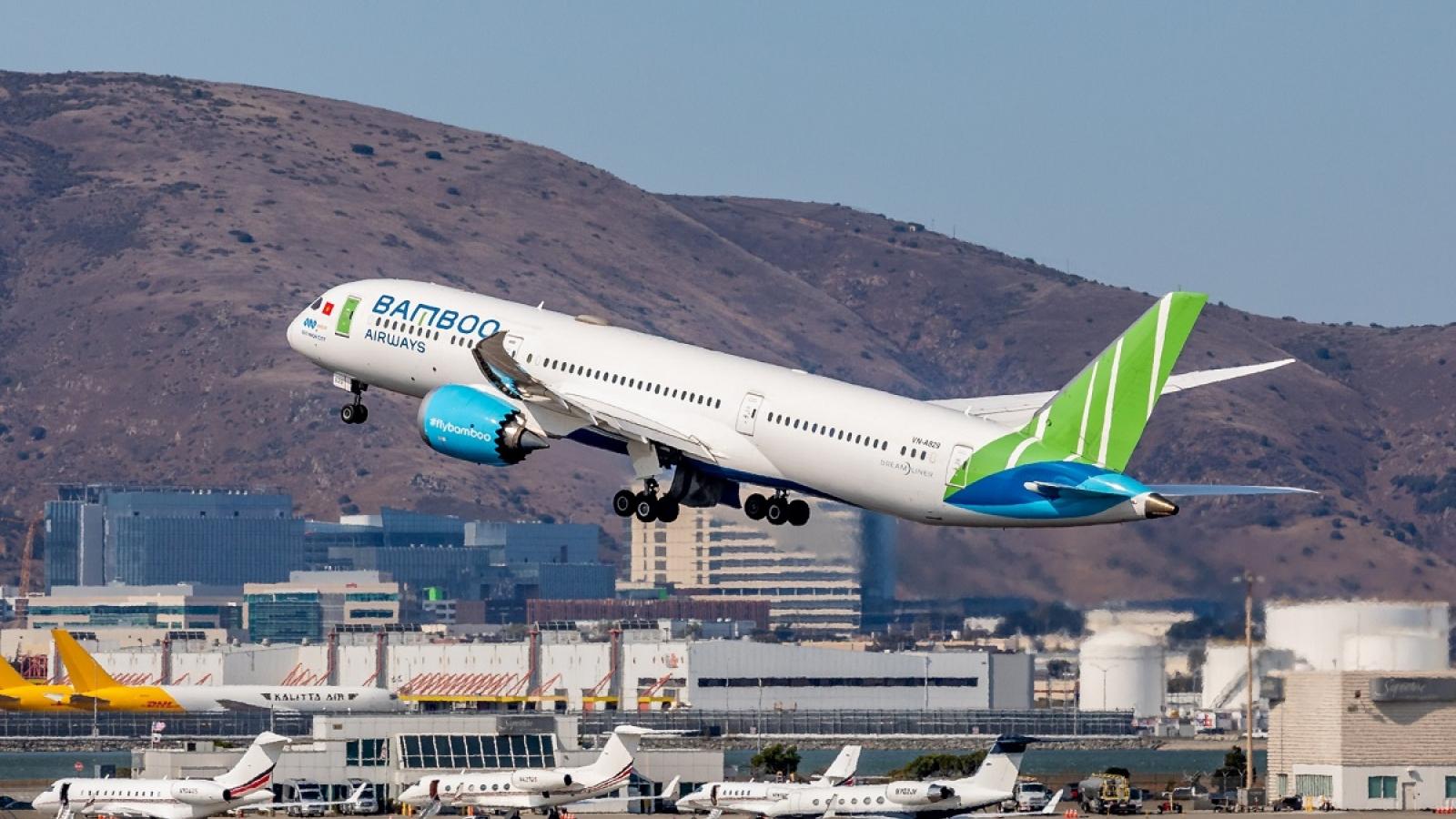 Bamboo Airways đón chuyến bay thẳng đầu tiên kết nối Việt - Mỹ tại sân bay San Francisco