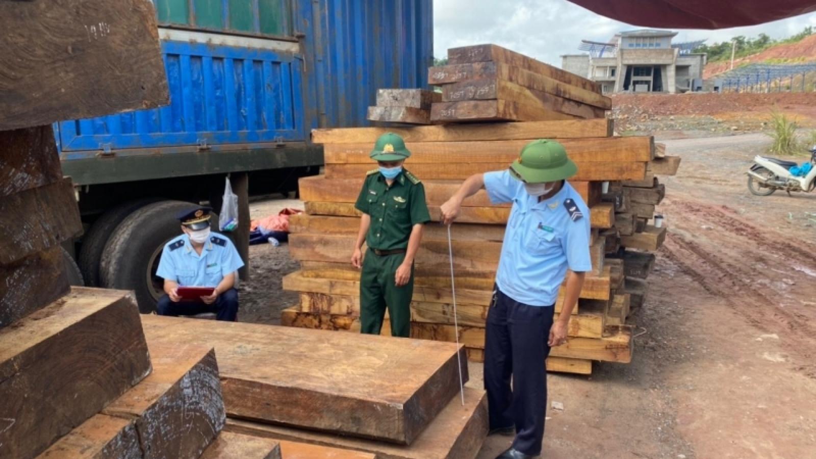 Các lực lượng chức năng Quảng Trị bắt xe chở gỗ lậu và đá phấn trị giá trên 29 tỷ đồng