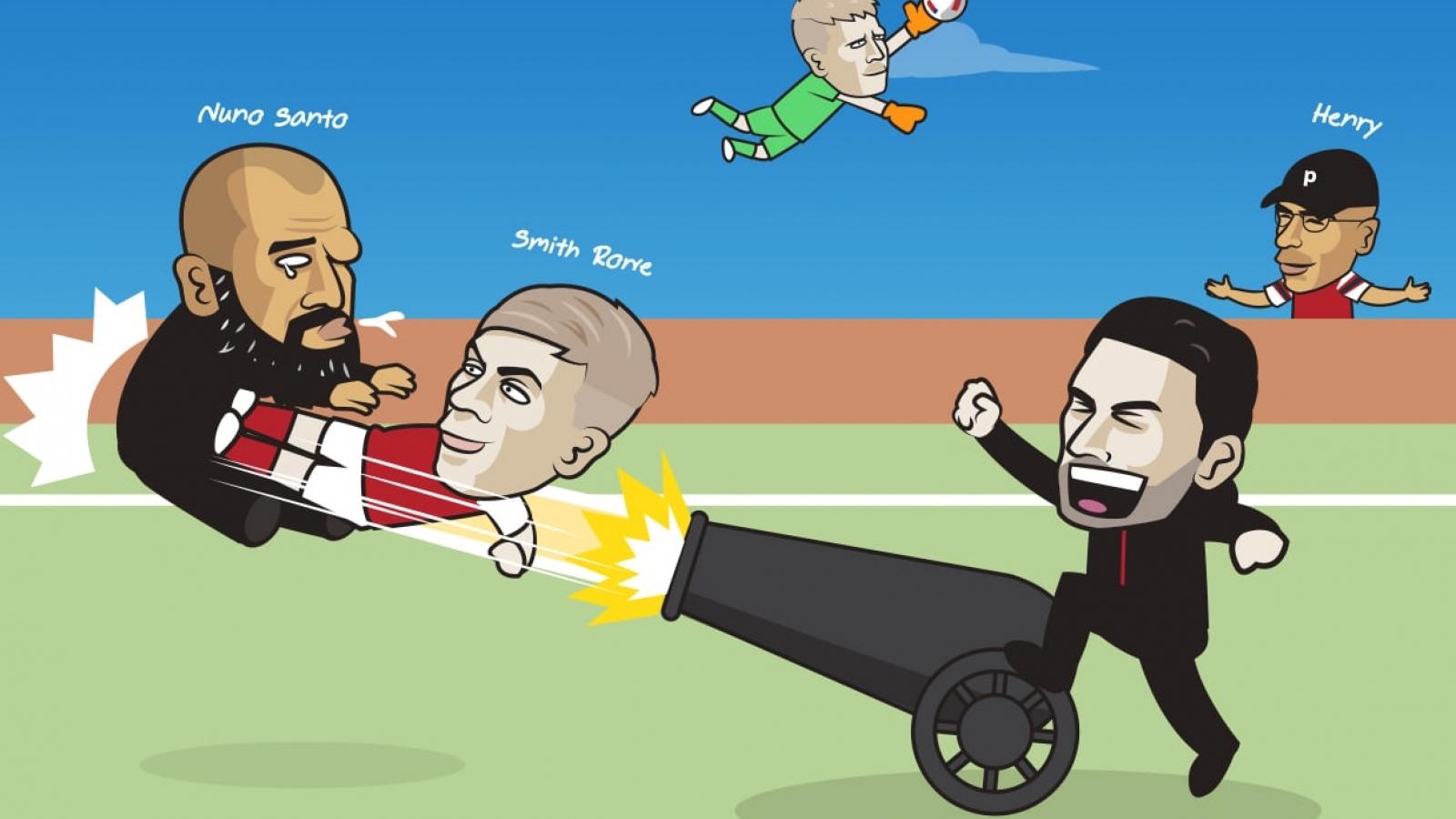 "Biếm hoạ 24h: Arsenal ""thổi bay"" Tottenham ở derby Bắc London"