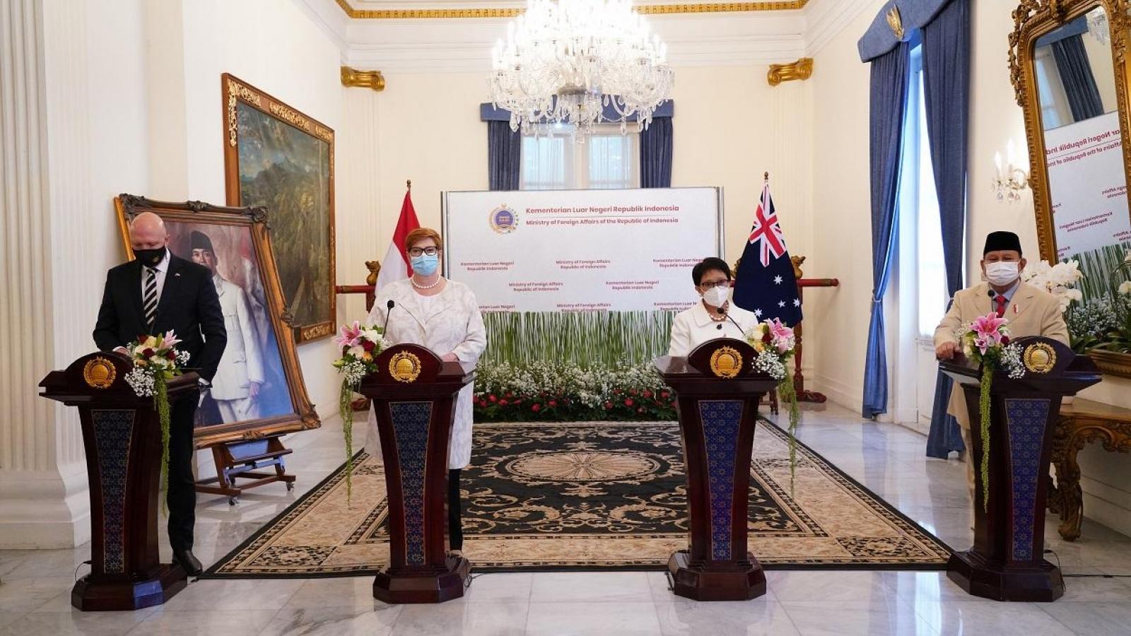 Indonesia và Australia tổ chức đối thoại 2+2, ký kết các thỏa thuận mới