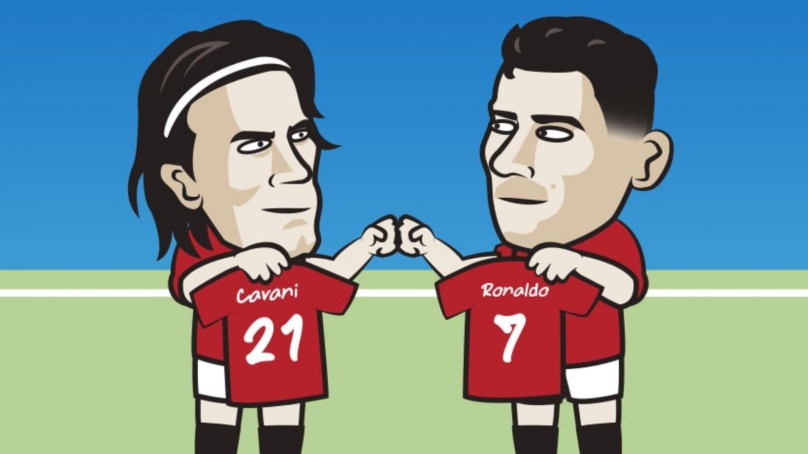 Biếm hoạ 24h: Edinson Cavani chơi đẹp với Cristiano Ronaldo