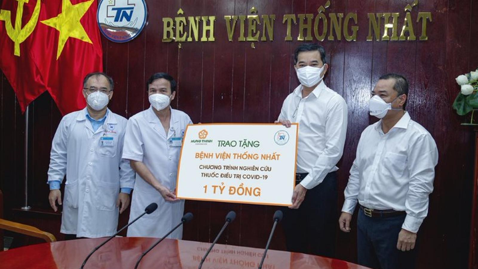Tập đoàn Hưng Thịnh tặng1 tỷ đồng cho BV Thống Nhất nghiên cứu thuốc điều trị COVID-19