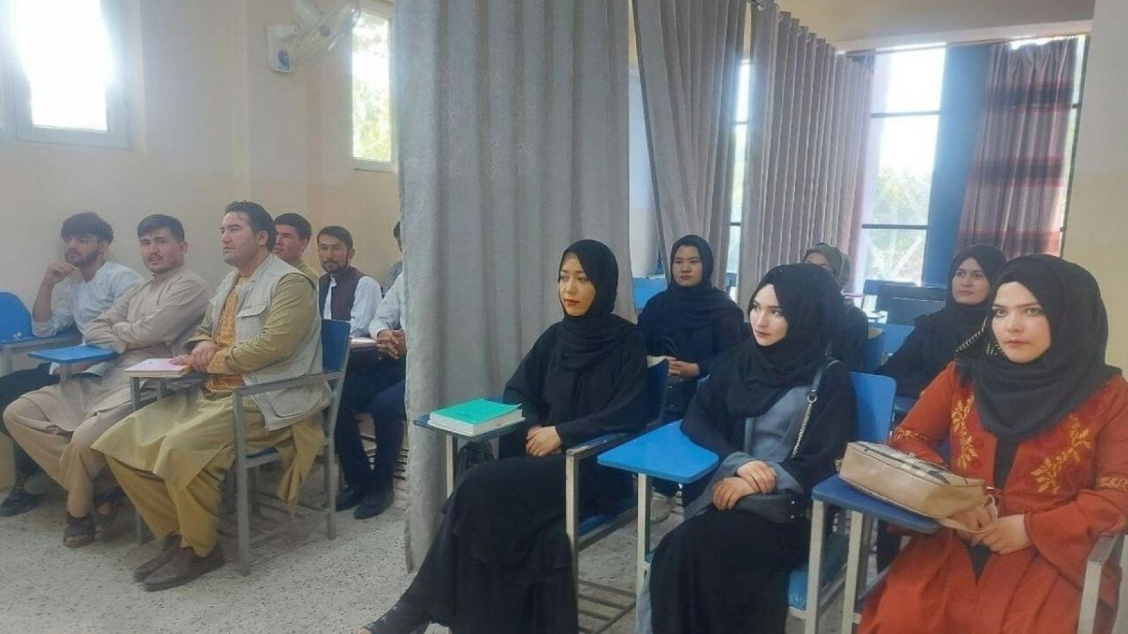 Tấm rèm ngăn cách giữa nam và nữ sinh viên tại các trường đại học ở Afghanistan