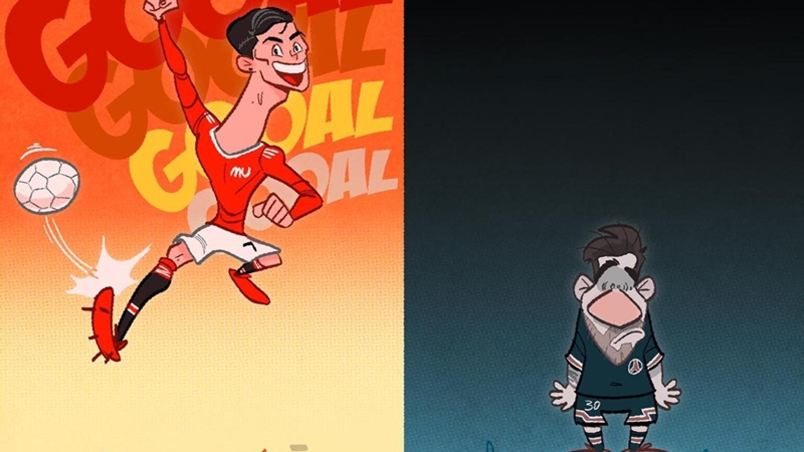Biếm hoạ 24h: Ronaldo khiến Messi phải chịu áp lực ngàn cân