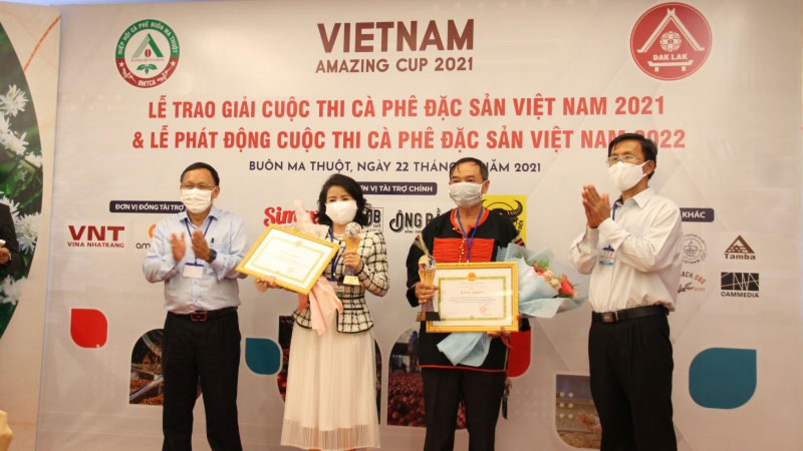 Trao 6 giải Cà phê đặc sản Việt Nam năm 2021