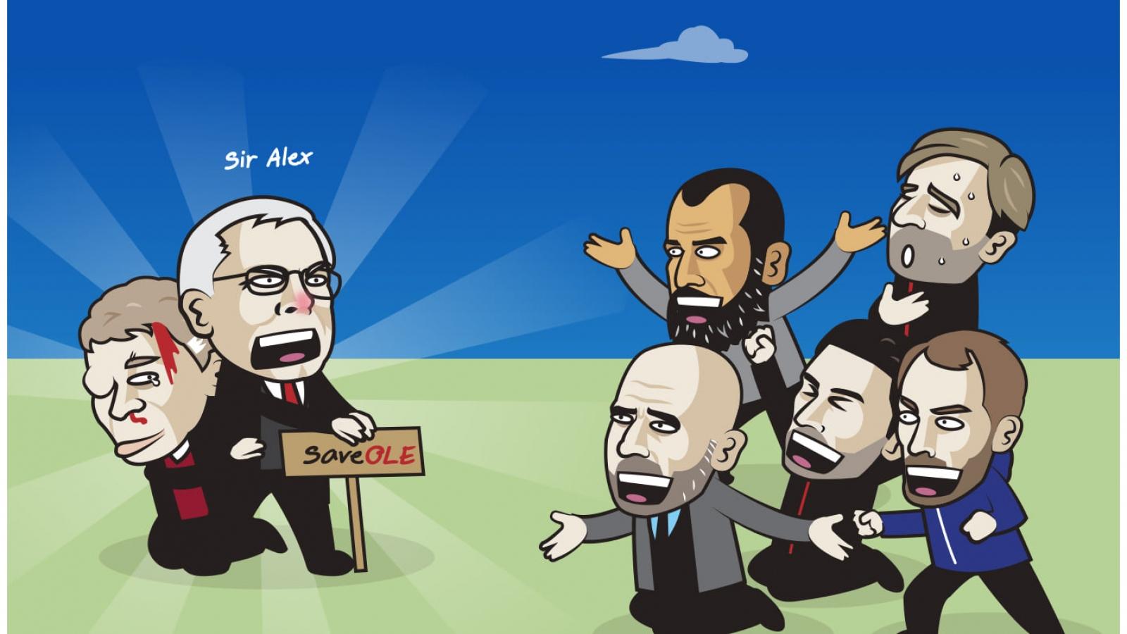 """Biếm họa 24h: HLV Solskjaer được thầy Sir Alex """"bảo lãnh"""""""