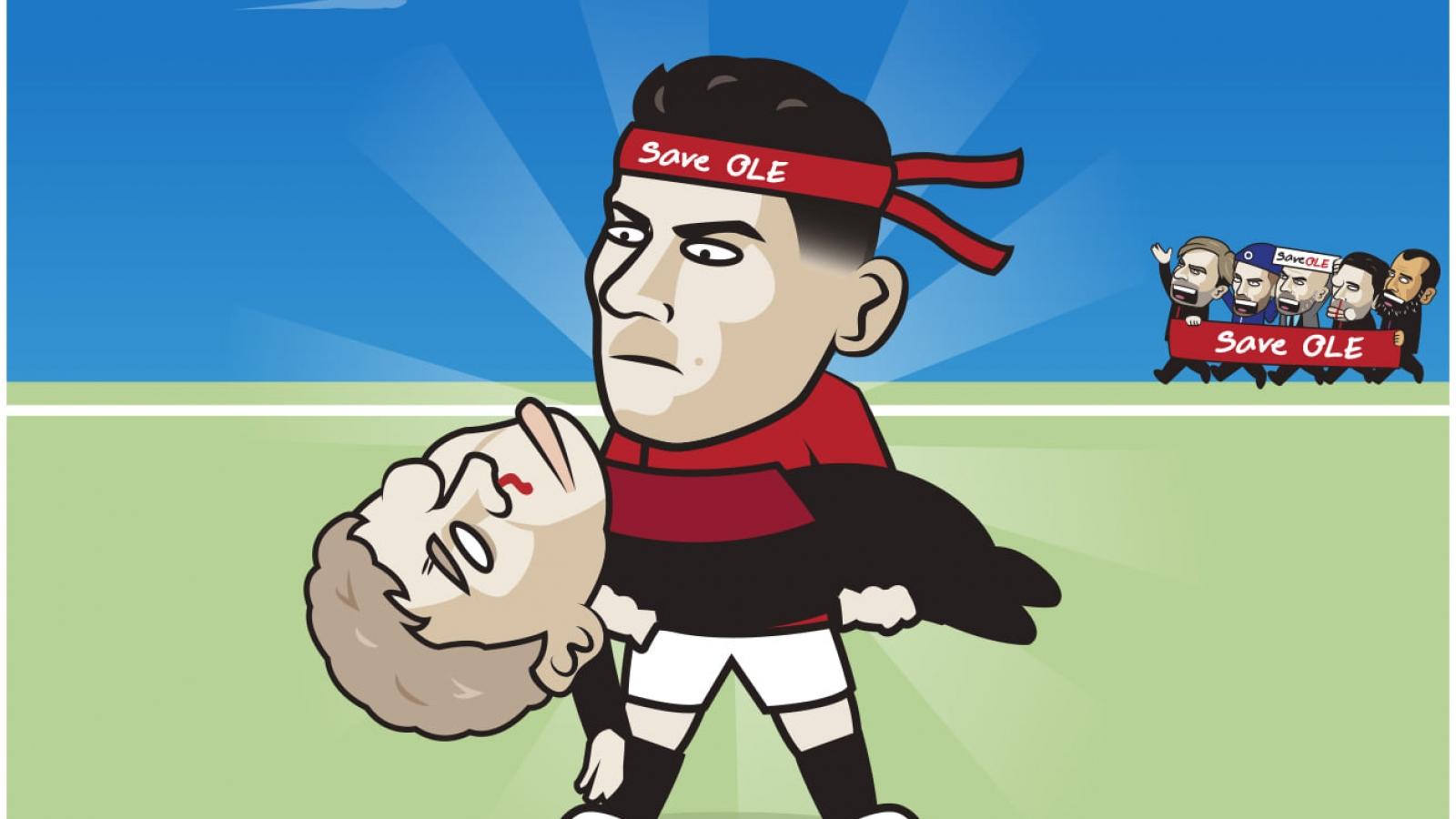 """Biếm hóa 24h: Ronaldo """"bế"""" Solskjaer qua bão tố, HLV Mourinho méo mặt"""