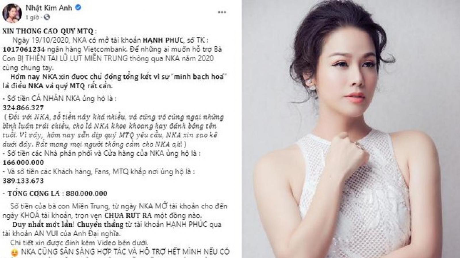 Chuyện showbiz: Nhật Kim Anh công bố sao kê tài khoản kêu gọi tiền từ thiện