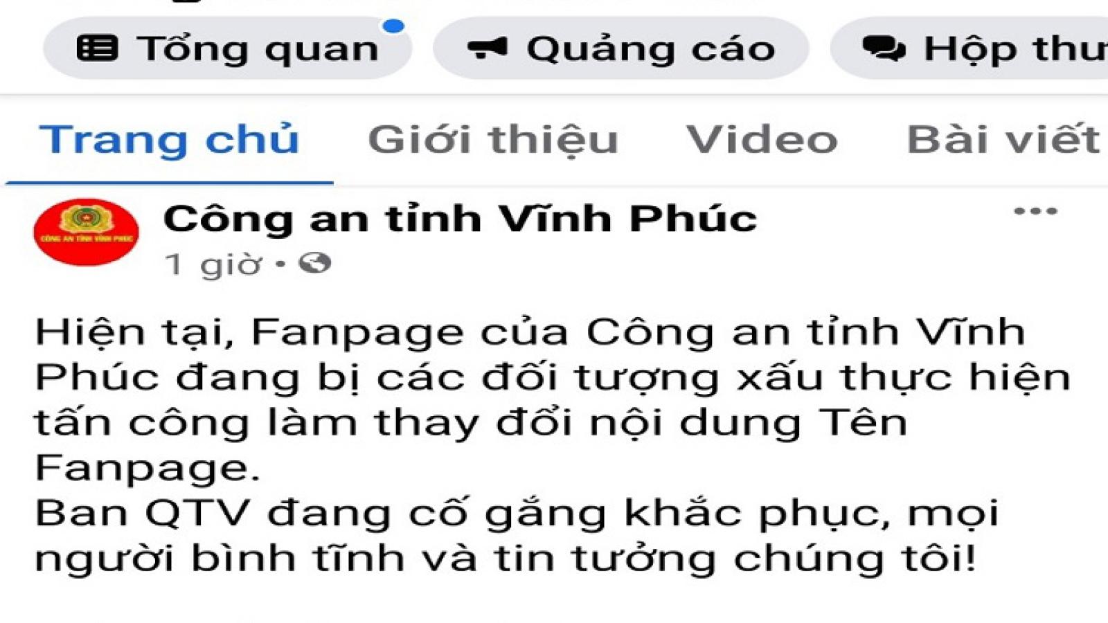 Xác định hacker tấn công Fanpage của Công an tỉnh Vĩnh Phúc