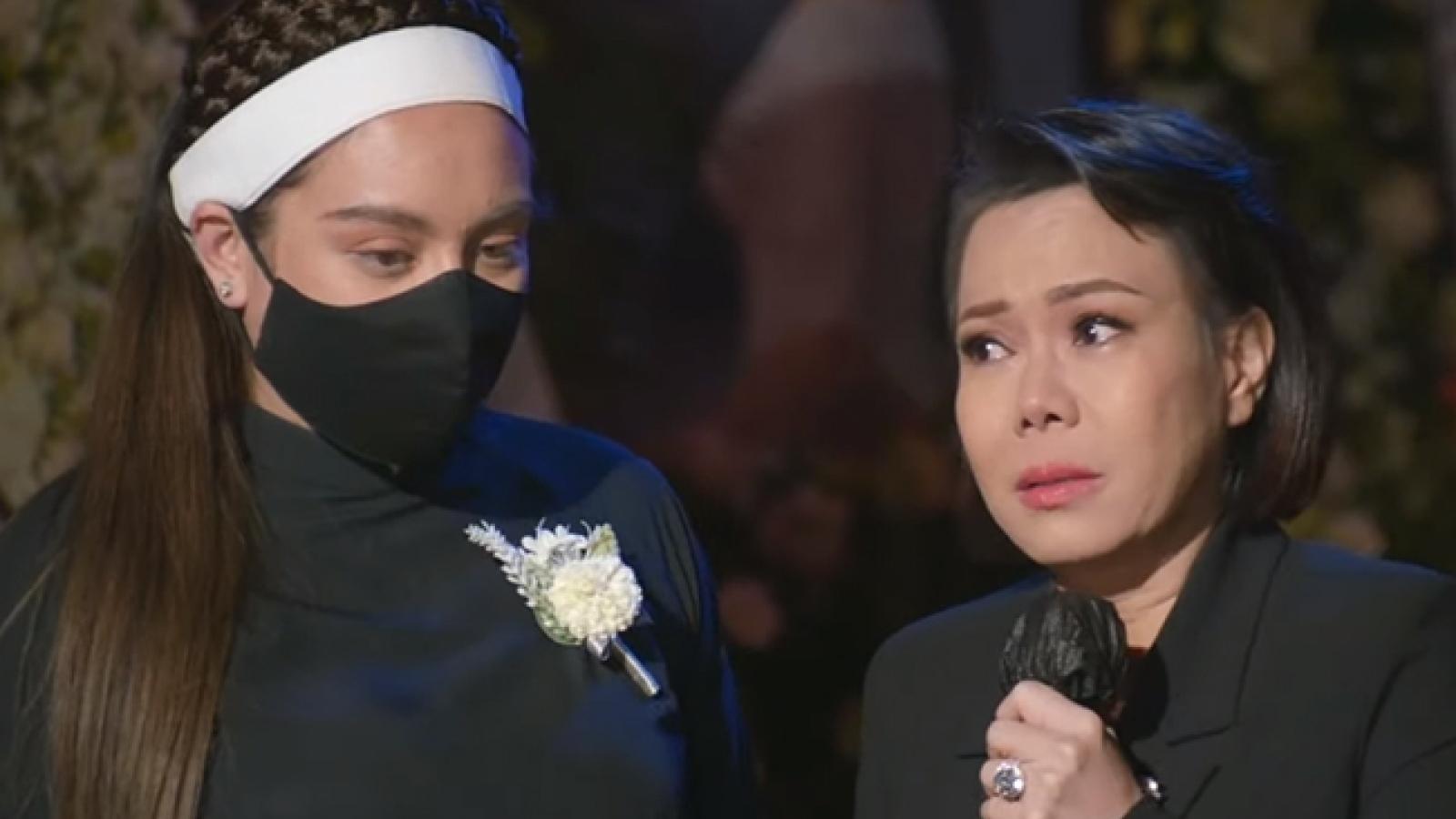 """Chuyện showbiz: Việt Hương gồng mình """"giấu cảm xúc"""", cố không khóc trong tang lễ Phi Nhung"""