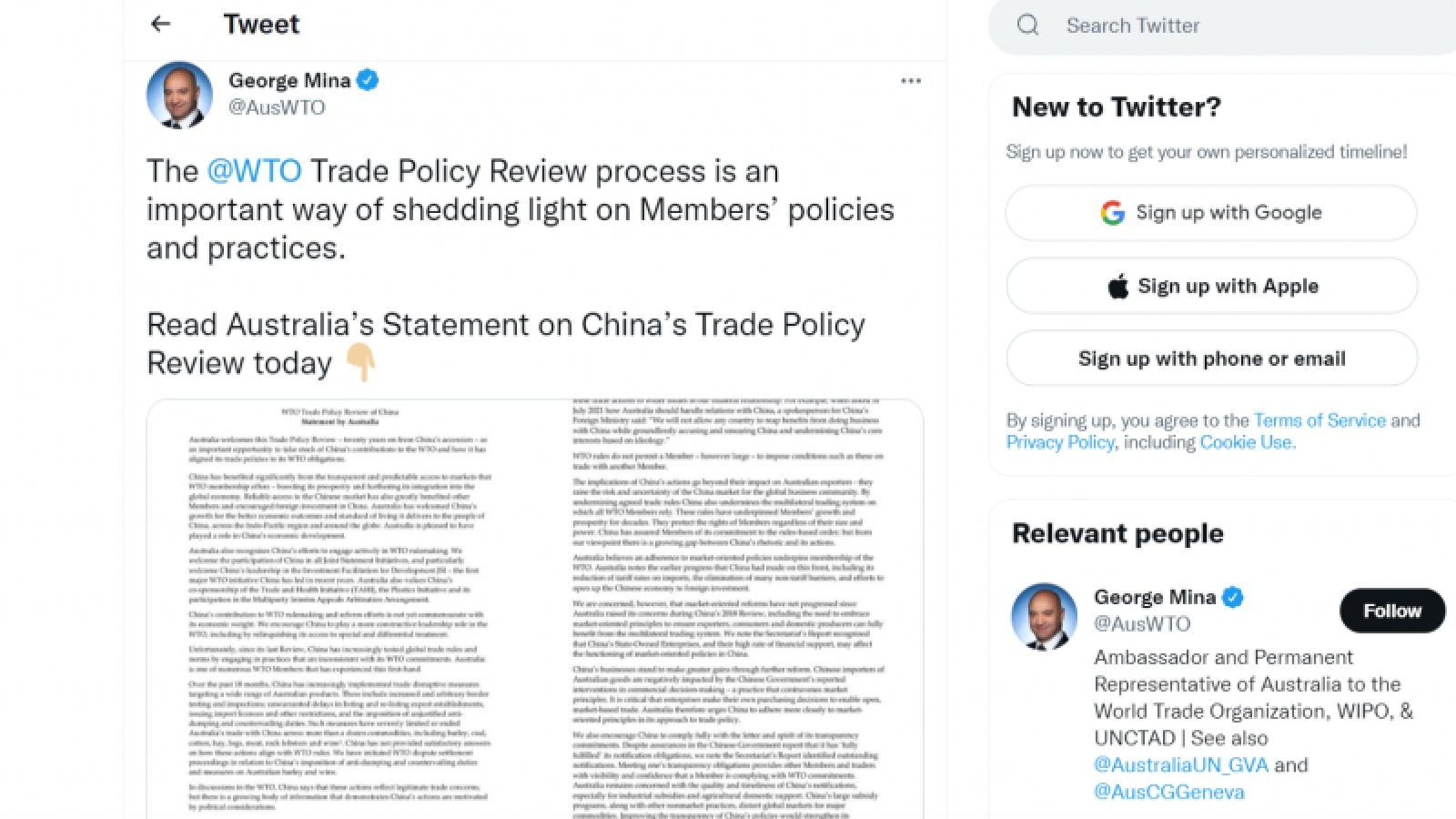 Australia cáo buộc Trung Quốc đe dọa hệ thống thương mại toàn cầu