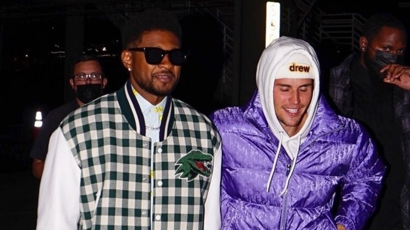 Justin Bieber cười tươi khi gặp huyền thoại âm nhạc Usher tại Mỹ