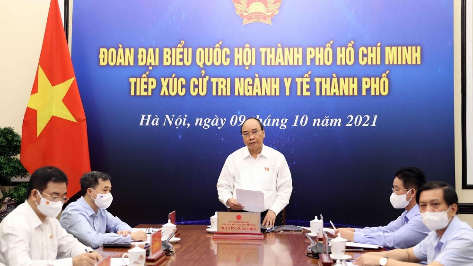 Chủ tịch nước đề nghị TPHCM tương trợ các địa phương trong vùng phòng, chống COVID-19