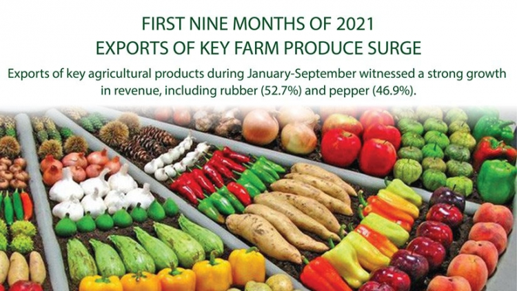 Exports of key farm produce surge in nine months