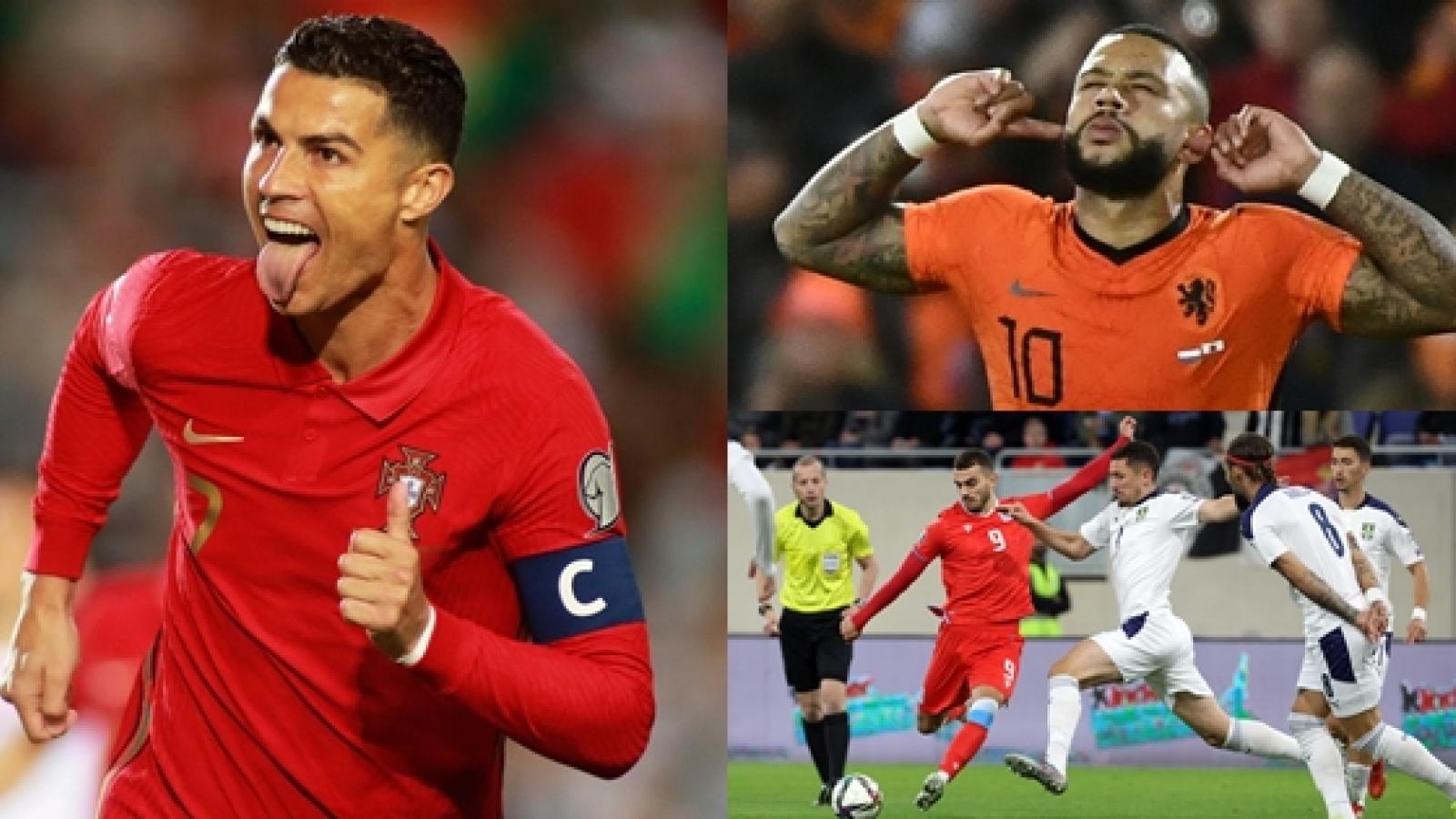 """Vua phá lưới vòng loại World Cup 2022 khu vực châu Âu: Ronaldo """"hít khói"""" Depay"""