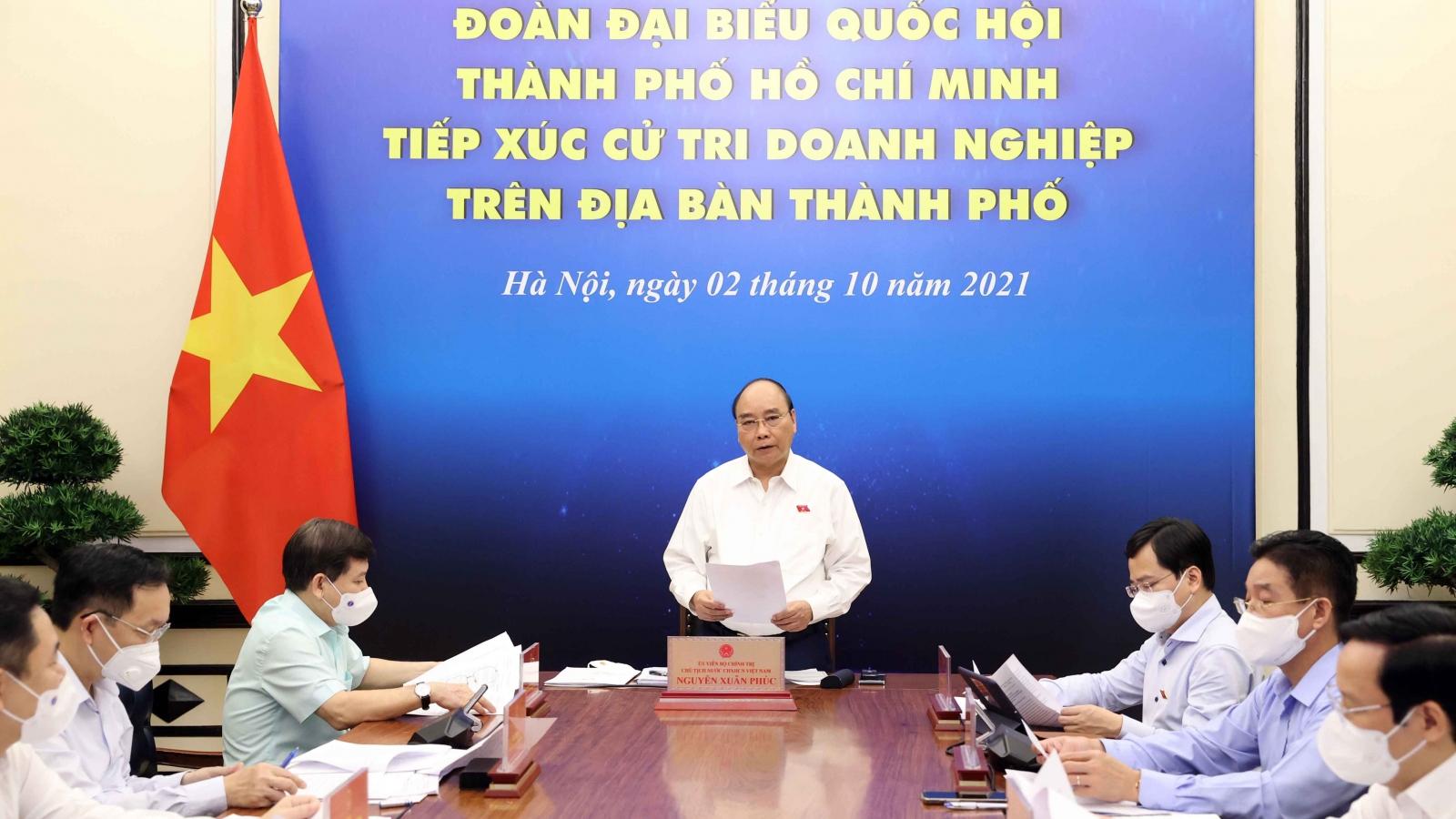 Chủ tịch nước: Cần tạo thuận lợi cho di chuyển hàng hóa, con người để khôi phục sản xuất