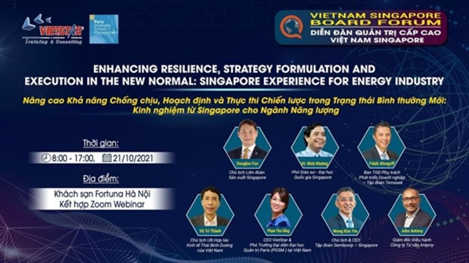 Hanoi to host Vietnam-Singapore forum for senior energy industry leaders