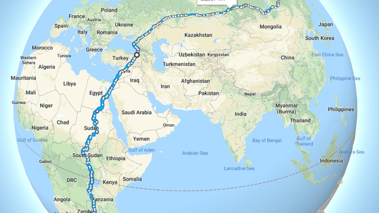 Con đường đi bộ dài nhất thế giới không cần băng qua đại dương hay rào cản nào
