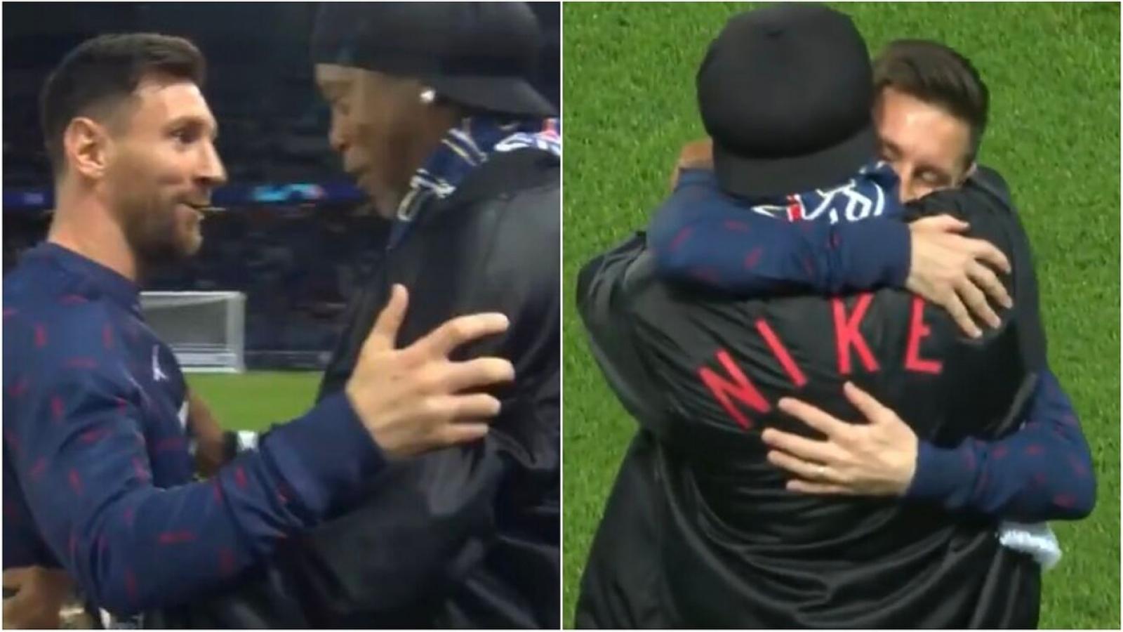 Messi tay bắt mặt mừng khi gặp lại Ronaldinho