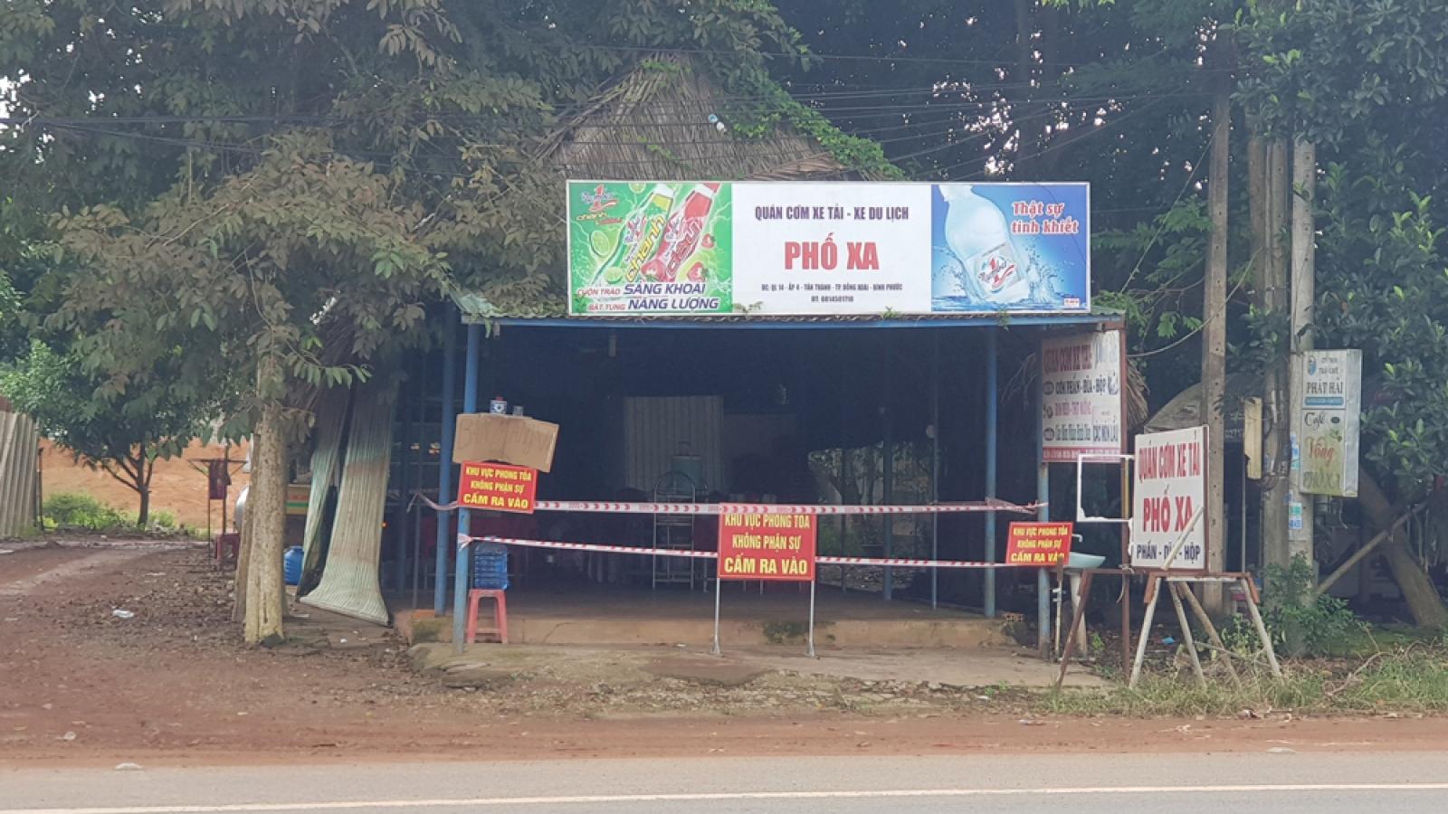 Chủ quán cơm ở Bình Phước bị xử phạt vì cho F0 ăn tại chỗ