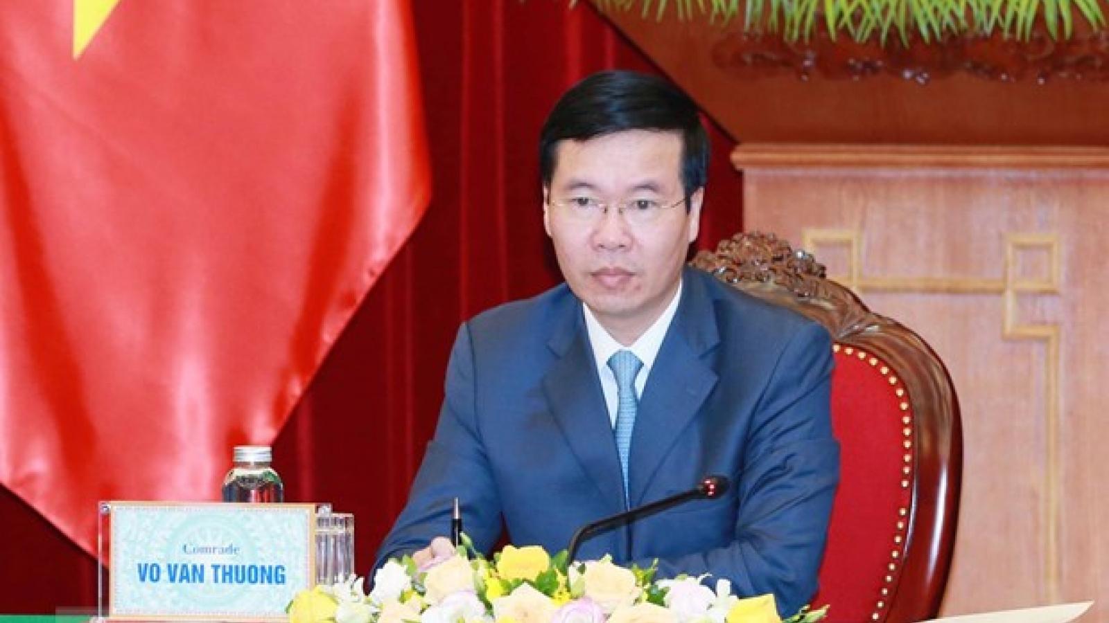 Thường trực Ban Bí thư Võ Văn Thưởng hội đàm trực tuyến với Thường trực Ban Bí thư Lào