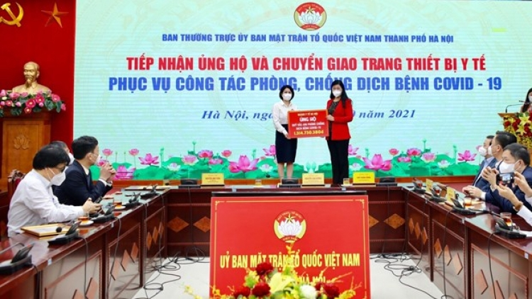 Hanoi receives donations for COVID-19 fight