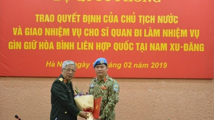 Another Vietnamese officer assumes peacekeeping duty in South Sudan