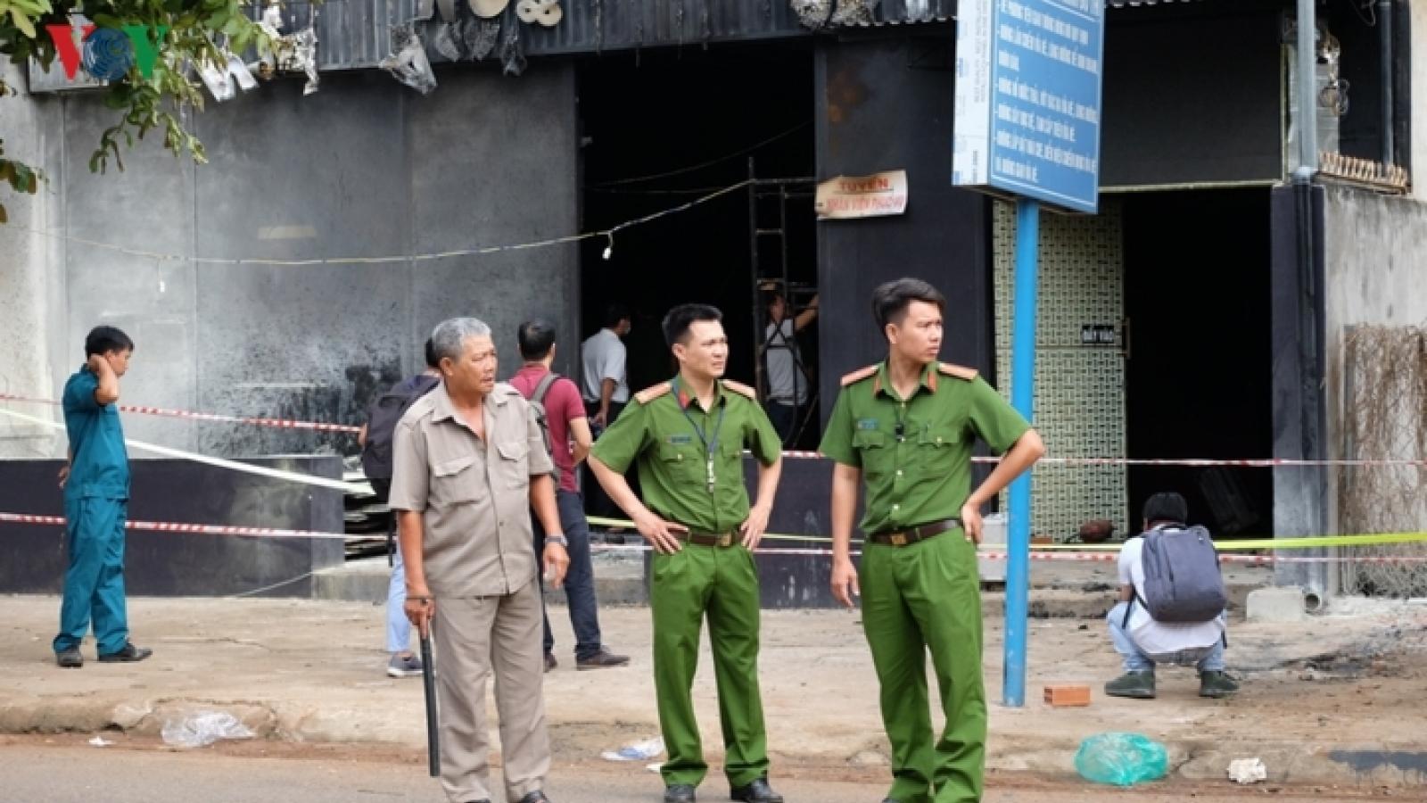 Police investigate scene of restaurant fire in Dong Nai
