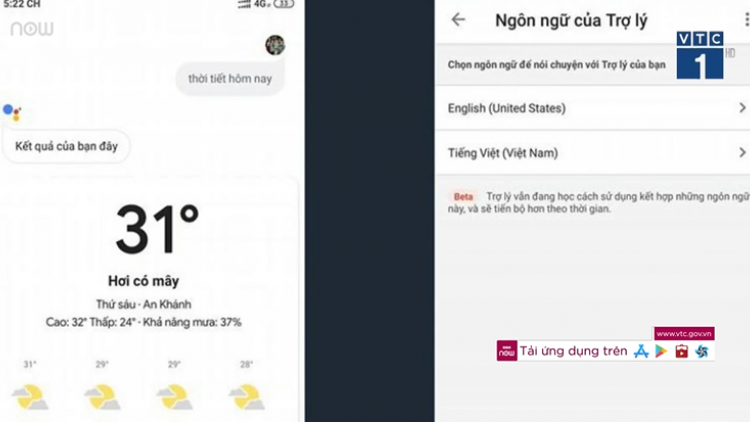 Google Assistant thử nghiệm tiếng Việt