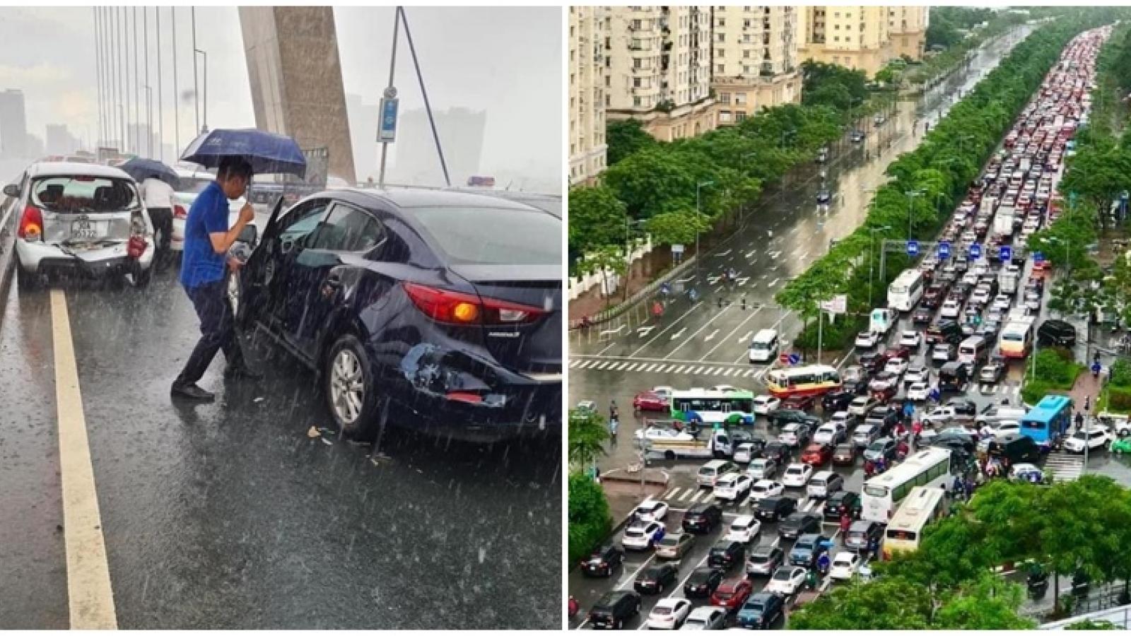 5 ô tô tông liên hoàn trên cầu Nhật Tân, đường ra sân bay Nội Bài tắc nghẽn